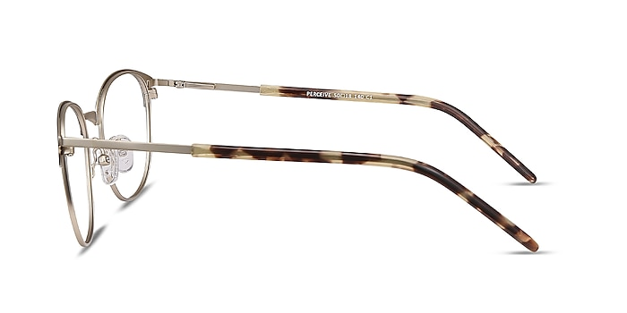 Perceive Brown Golden Metal Eyeglass Frames from EyeBuyDirect