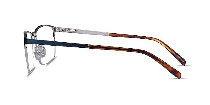 Valery Blue Metal Eyeglass Frames from EyeBuyDirect