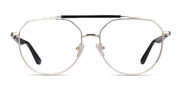 Coxon Golden Black Metal Eyeglass Frames from EyeBuyDirect