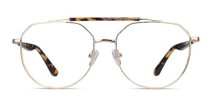 Coxon Golden Tortoise Metal Eyeglass Frames from EyeBuyDirect