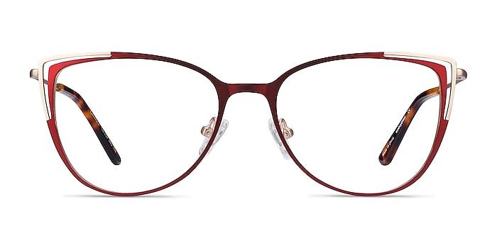 Garance Red & Gold Metal Eyeglass Frames from EyeBuyDirect