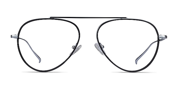 Cana Black  Silver Metal Eyeglass Frames