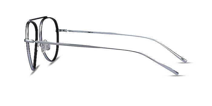 Cana Black  Silver Metal Eyeglass Frames from EyeBuyDirect