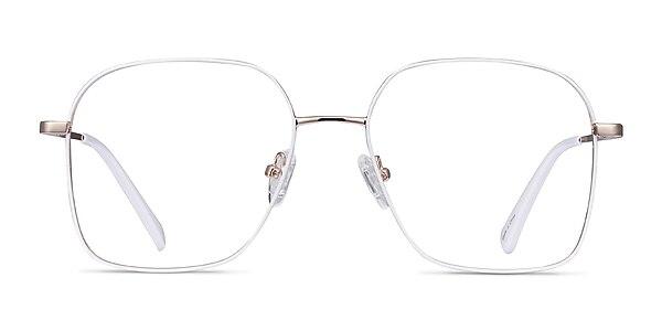 Arty White & Gold Metal Eyeglass Frames