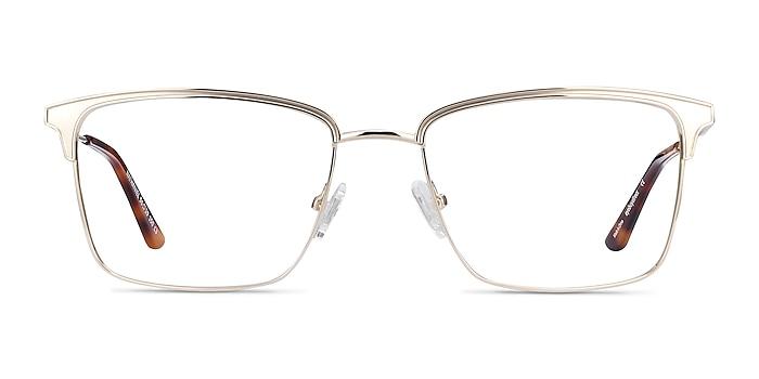Nathaniel Gold Metal Eyeglass Frames from EyeBuyDirect
