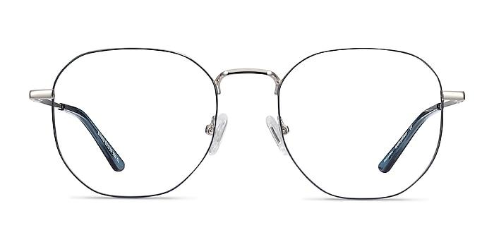 Ethan Navy & Silver Metal Eyeglass Frames from EyeBuyDirect