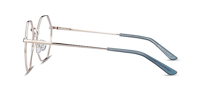 Altar Navy & Gold Metal Eyeglass Frames from EyeBuyDirect