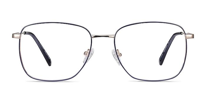 Kusama Navy & Gold Metal Eyeglass Frames from EyeBuyDirect