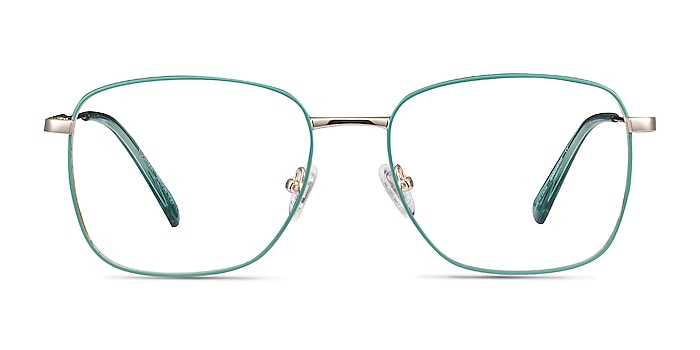 Kusama Green & Gold Metal Eyeglass Frames from EyeBuyDirect