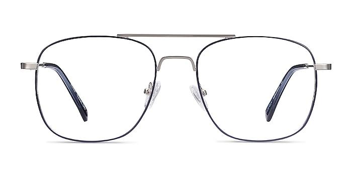 Perry Blue & Silver Metal Eyeglass Frames from EyeBuyDirect