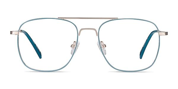 Perry Teal & Gold Metal Eyeglass Frames