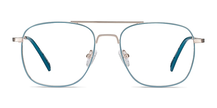 Perry Teal & Gold Metal Eyeglass Frames from EyeBuyDirect