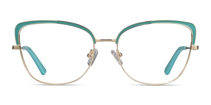 Marina Aqua Gold Metal Eyeglass Frames from EyeBuyDirect