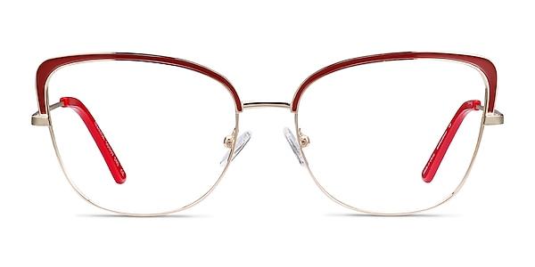 Marina Red & Gold Metal Eyeglass Frames