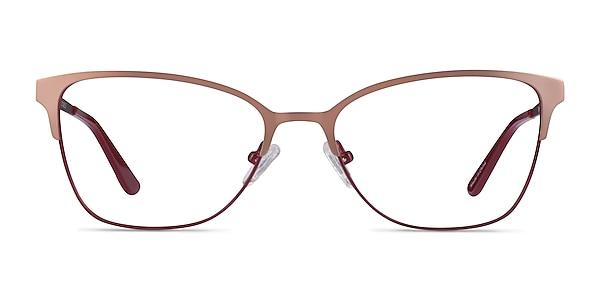 Marlena Rose Gold Burdungy Metal Eyeglass Frames