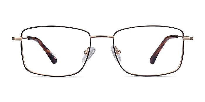 Marley Black Gold Metal Eyeglass Frames from EyeBuyDirect