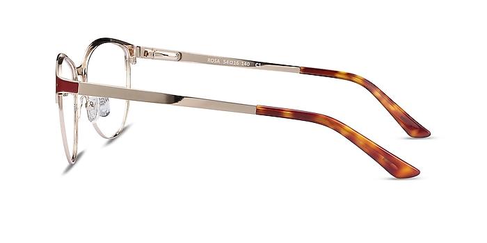Rosa Red & Gold Metal Eyeglass Frames from EyeBuyDirect