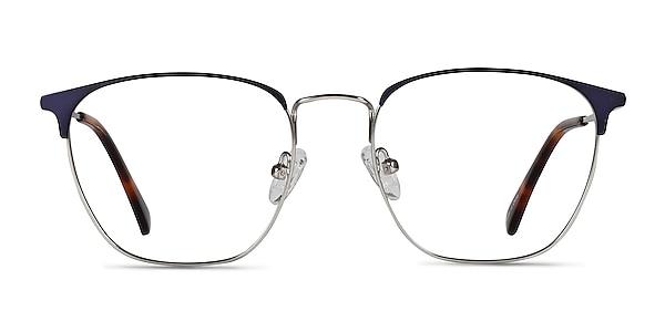 Codex Blue Silver Metal Eyeglass Frames