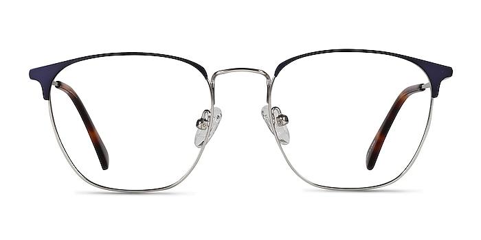 Codex Blue Silver Metal Eyeglass Frames from EyeBuyDirect