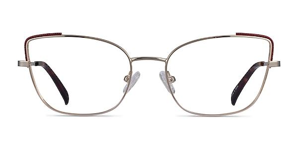 Exquisite Light Gold Burgundy Metal Eyeglass Frames