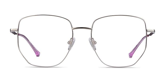 Nimble Silver & Purple Metal Eyeglass Frames from EyeBuyDirect