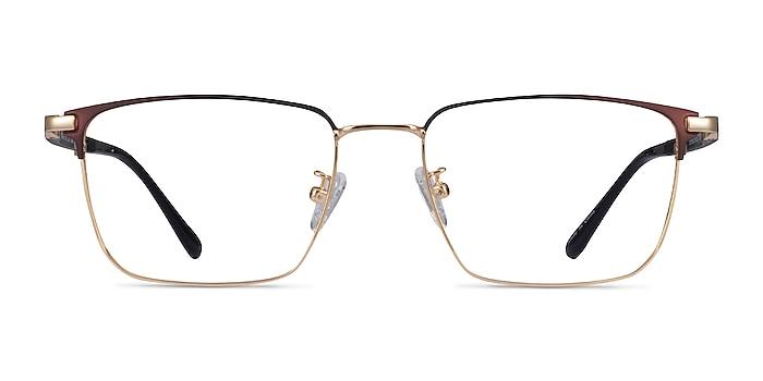 Abroad Brown Gold Métal Montures de lunettes de vue d'EyeBuyDirect