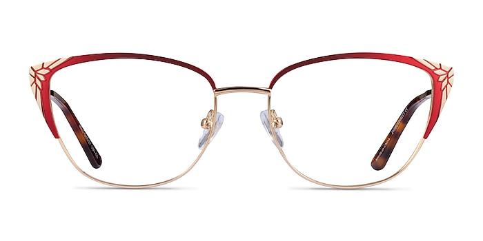 Ines Burgundy Gold Metal Eyeglass Frames from EyeBuyDirect
