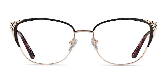 Ines Black Gold Metal Eyeglass Frames from EyeBuyDirect