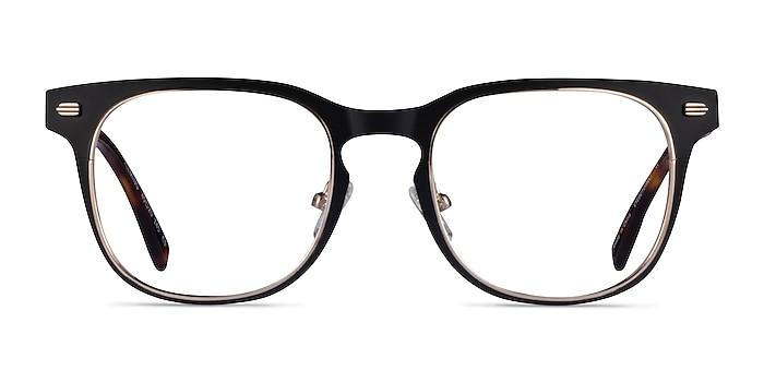 Fleming Matte Black Gold Metal Eyeglass Frames from EyeBuyDirect