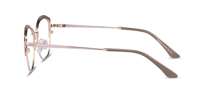Serrata Light Brown Gold Métal Montures de lunettes de vue d'EyeBuyDirect