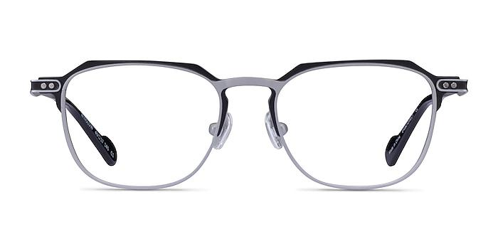 Winslow Matte Silver Black Metal Eyeglass Frames from EyeBuyDirect