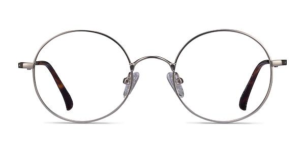 Lanscilo Matte Silver Metal Eyeglass Frames