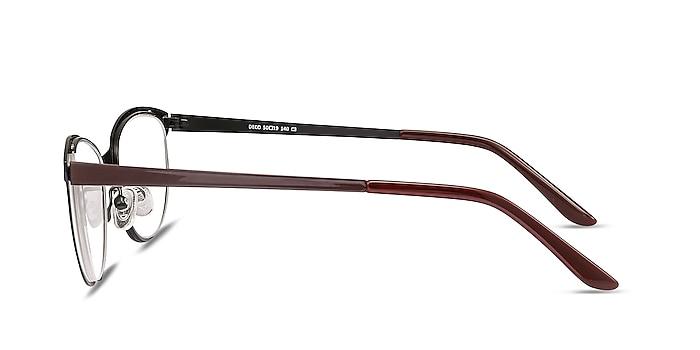 Deco Black Red Metal Eyeglass Frames from EyeBuyDirect