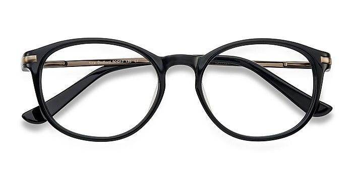 Black New Bedford -  Classic Acetate, Metal Eyeglasses