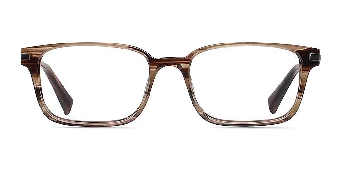 Dreamer Brown/Striped Acetate-metal Montures de lunettes de vue d'EyeBuyDirect