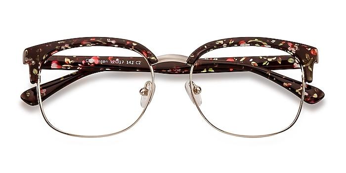 Silver/Floral Charleston -  Vintage Plastic, Metal Eyeglasses