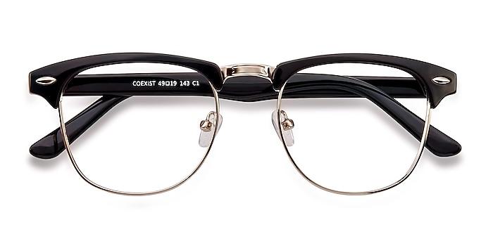 Black/Silver Coexist -  Vintage Plastic, Metal Eyeglasses