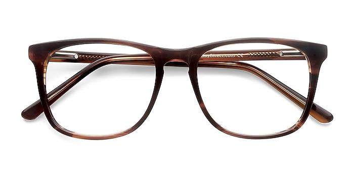 Brown Striped Skyline -  Classic Acetate Eyeglasses