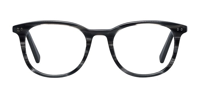 Demain  Gray Striped  Acetate Eyeglass Frames from EyeBuyDirect