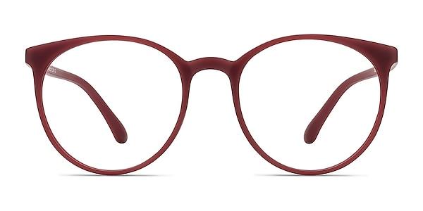 Portrait Matte Red Plastic Eyeglass Frames