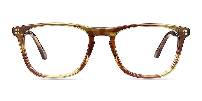 Prelude Brown Striped Acétate Montures de lunettes de vue d'EyeBuyDirect