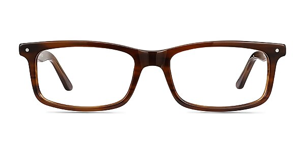 Mandi Brown Striped Acetate Eyeglass Frames