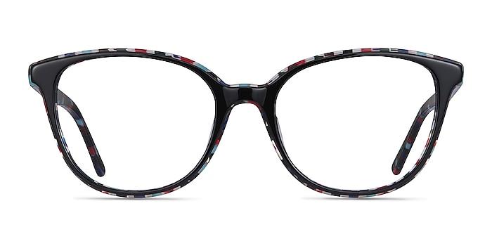 Pixels Black Floral Acetate Eyeglass Frames from EyeBuyDirect