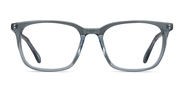 Etched Clear Blue Acetate Eyeglass Frames from EyeBuyDirect