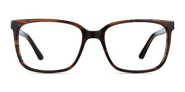 Formula Brown Striped Acetate Eyeglass Frames