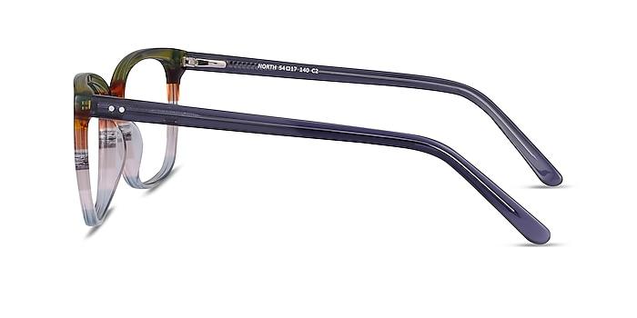 North Green Striped Acétate Montures de lunettes de vue d'EyeBuyDirect