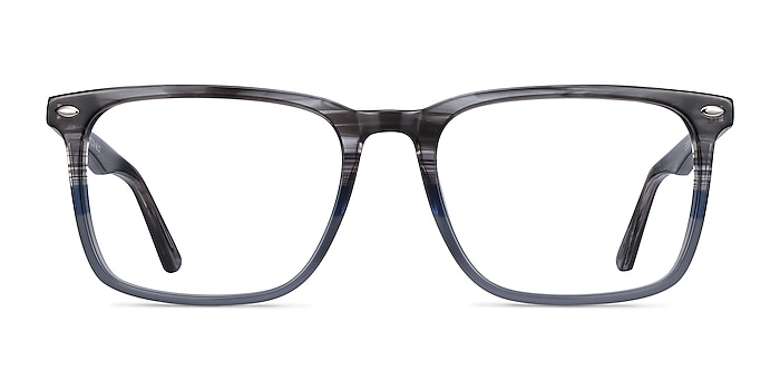 Tactician Gray Striped Acetate Eyeglass Frames from EyeBuyDirect