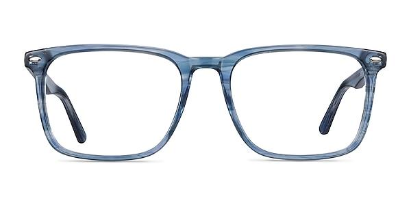 Tactician Blue Striped Acetate Eyeglass Frames