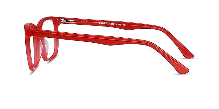 Lugano Rouge Acétate Montures de lunettes de vue d'EyeBuyDirect