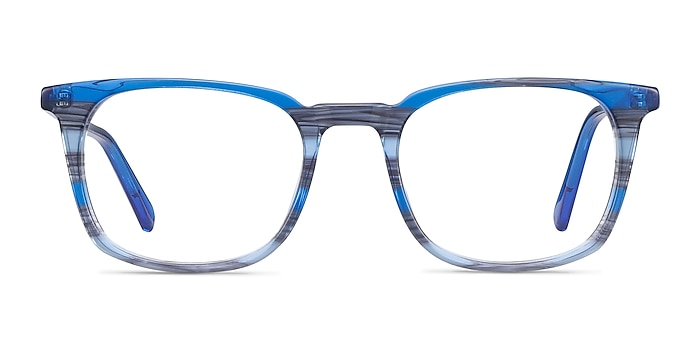 Gabor Blue Striped Acetate Eyeglass Frames from EyeBuyDirect